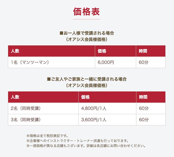 東急スポーツオアシスが運営する少人数制「YOGA・ピラティスプレミアムレッスン」の価格表