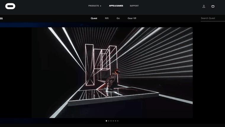 オキュラスVRゲーム「ビートセイバー」のウェブサイト