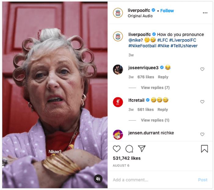 リバプールがReelsで公開した「Nike」の発音に関する動画