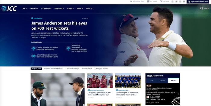 国際クリケット評議会(ICC)のウェブサイト