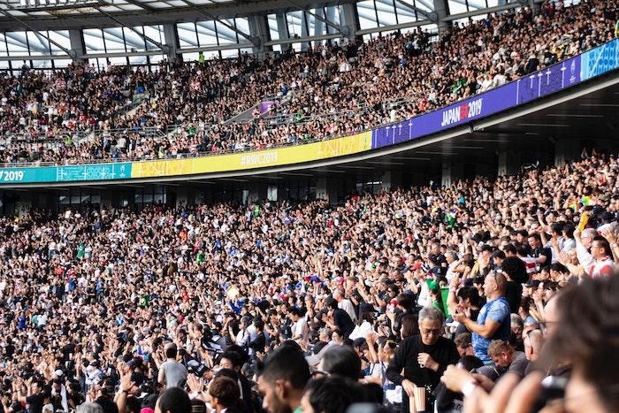 ラグビーワールドカップ2019の観客席の様子