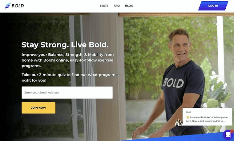オンラインのシニア向け運動プログラムを提供するカリフォルニアのスタートアップ「AgeBold」のウェブサイト