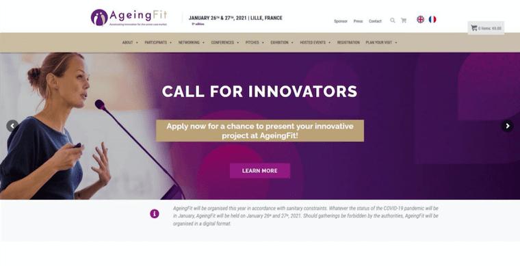 フランスの経済開発局Eurasantéが主催する展示会「AgeingFit」のウェブサイト