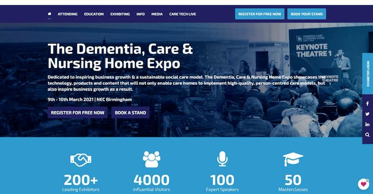 イギリスの展示会「Dementia, Care & Nursing Home Expo」のウェブサイト