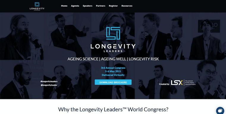 イギリスの展示会「Longevity Leaders Forum」のウェブサイト
