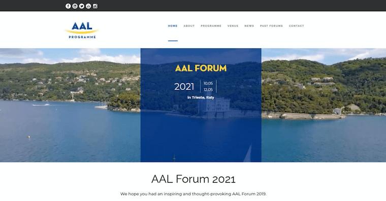 イタリアの展示会「AAL Forum」のウェブサイト